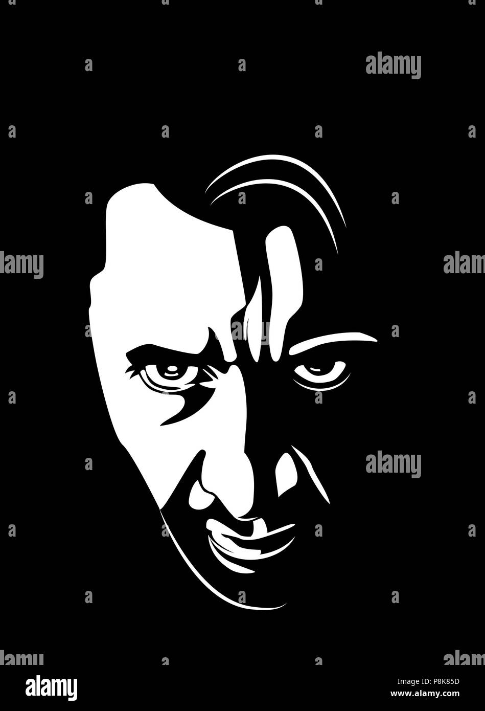 Angry male face - Stock Vector