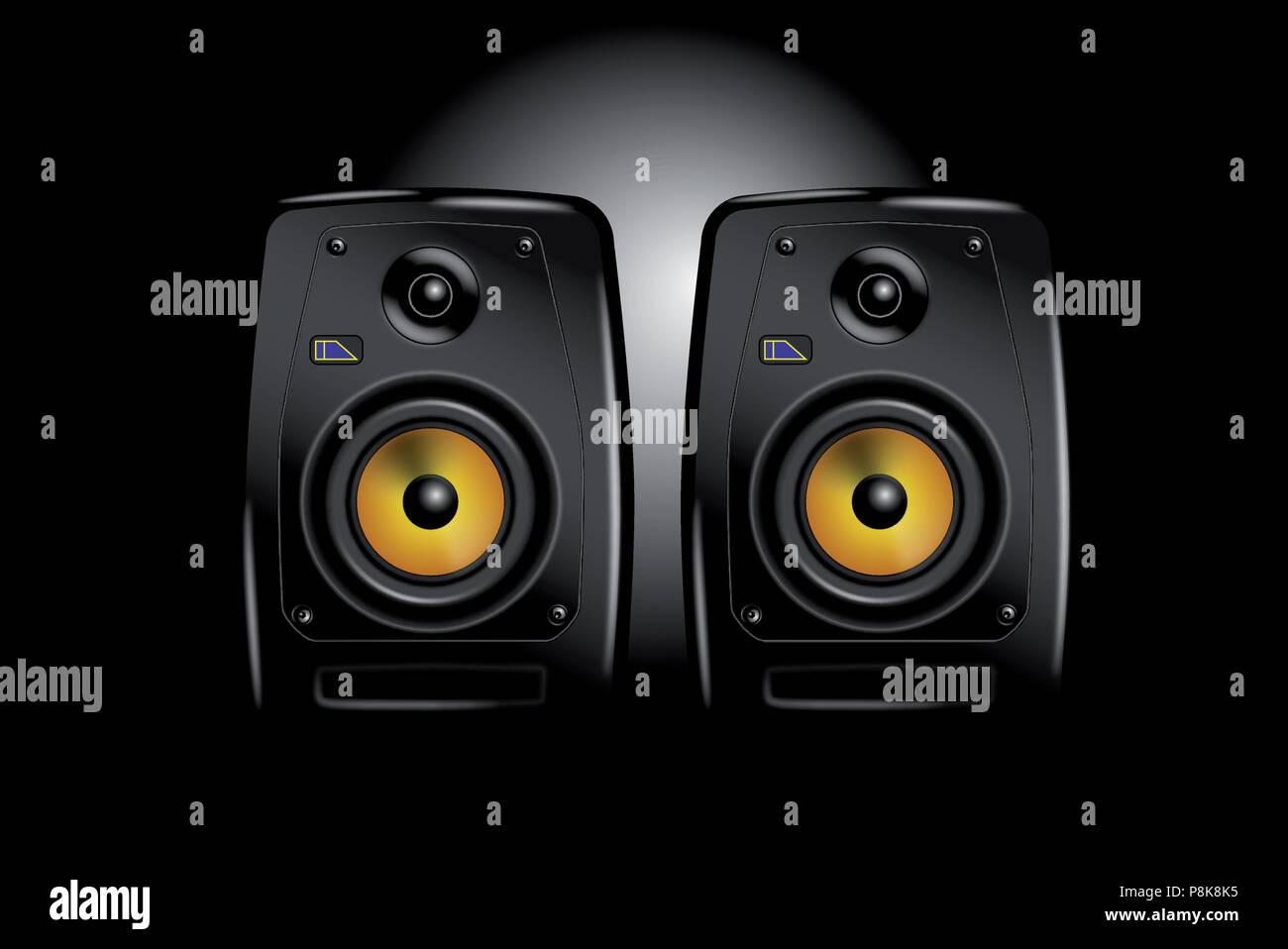Pair of vector speakers - Stock Image
