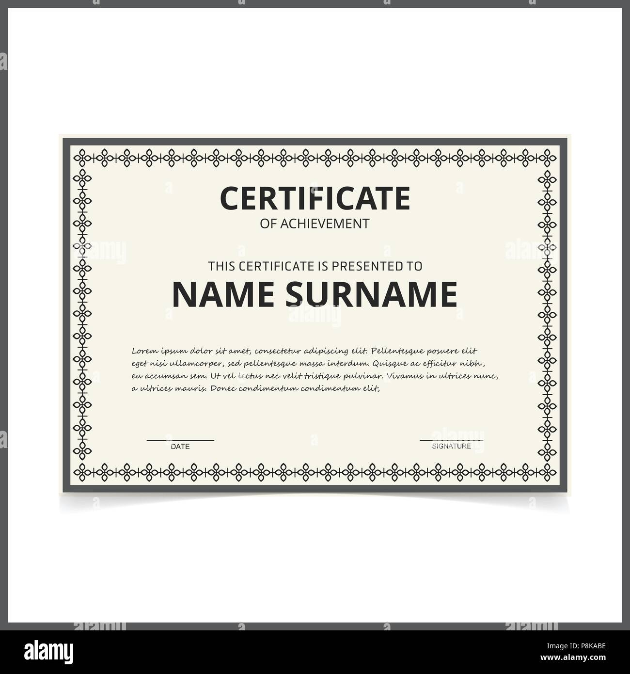 vector certificate template for web design and application