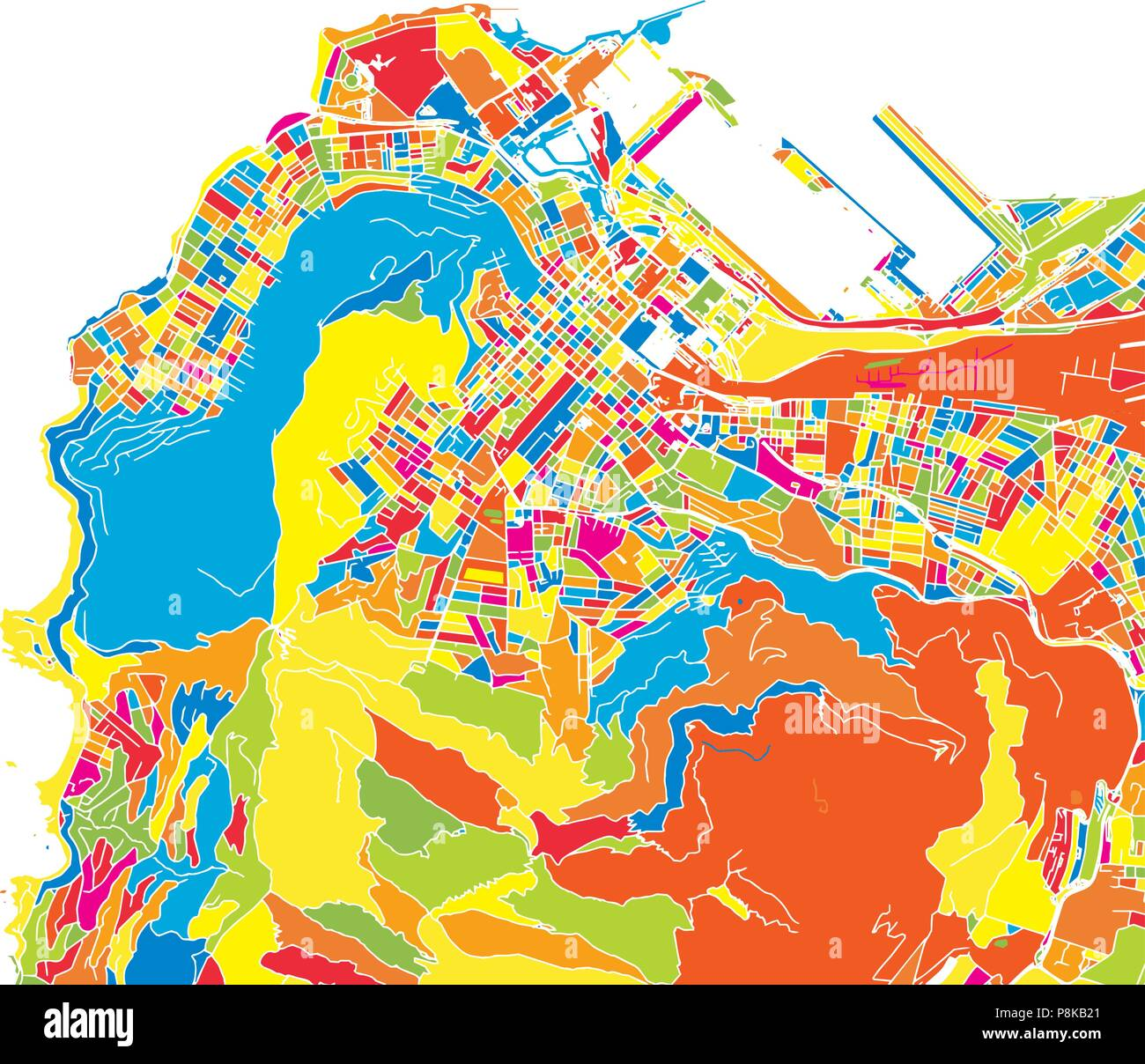 Cape Town, South Africa, colorful vector map. White streets ...