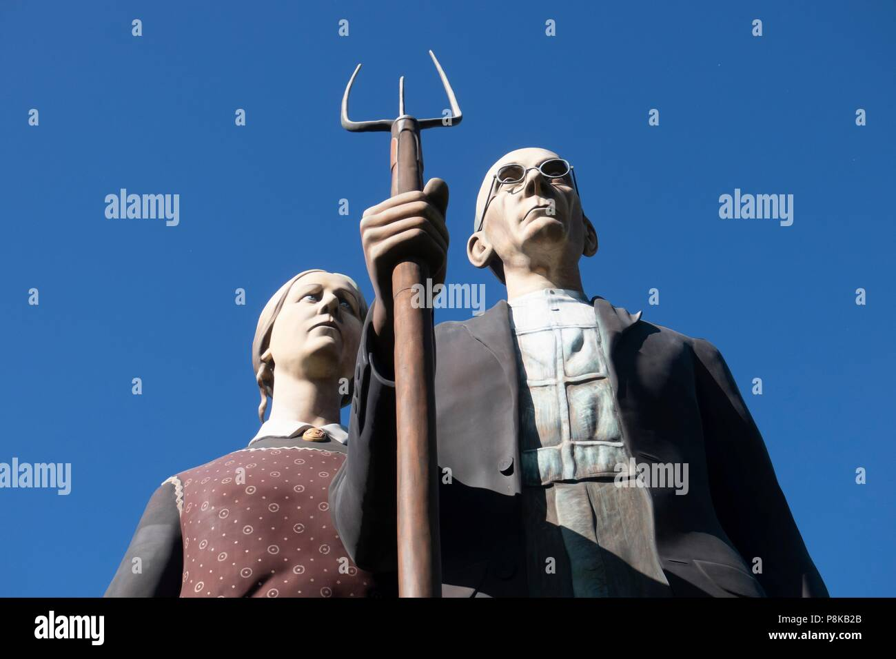 Seward Johnson's 25 foot statue 'God Bless America' in Elkhart Indiana's Central Park is a 3-dimensional re-creation of the iconic painting 'American  - Stock Image