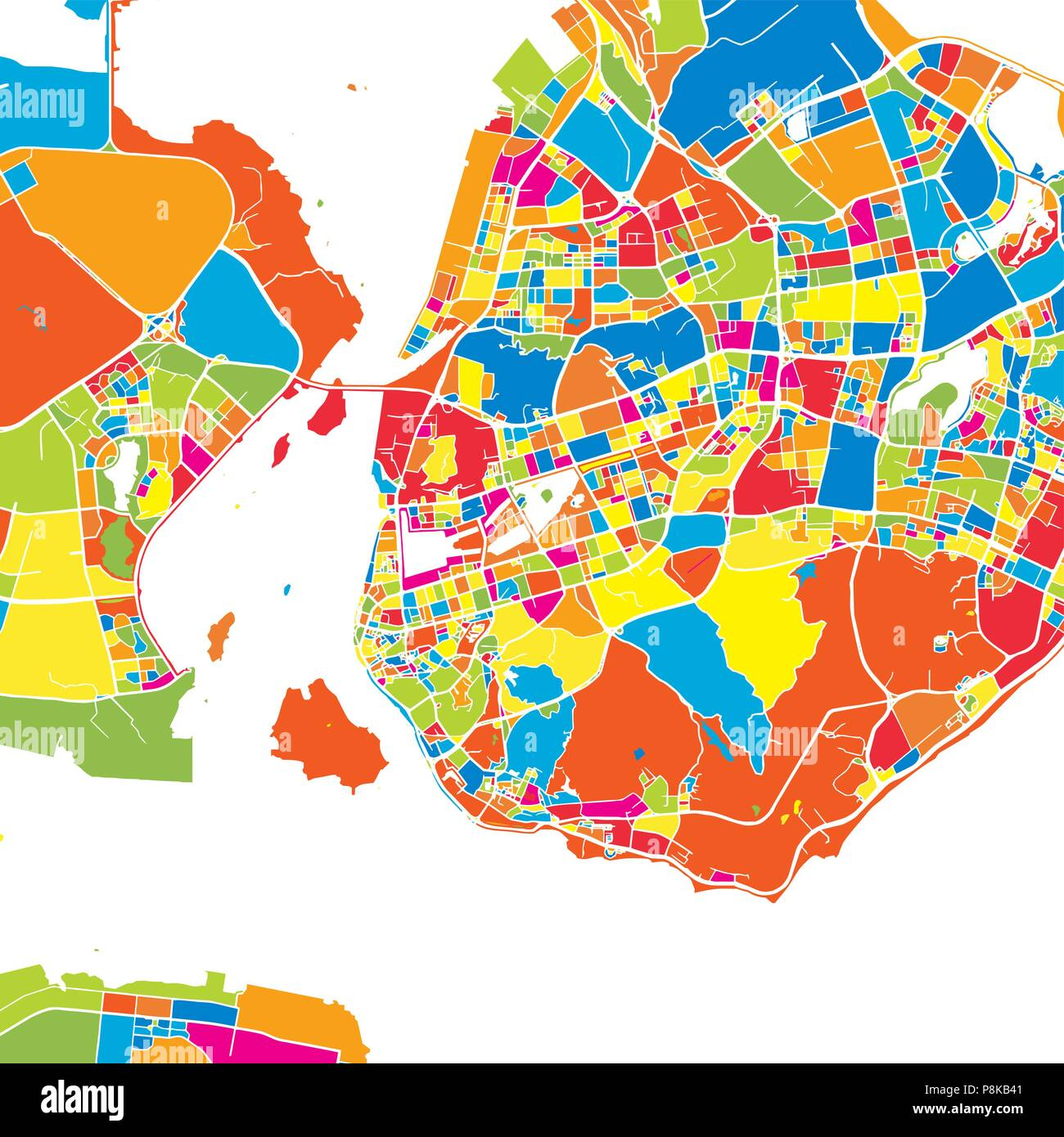 Xiamen china colorful vector map white streets railways and xiamen china colorful vector map white streets railways and water bright colored landmark shapes art print pattern gumiabroncs Gallery