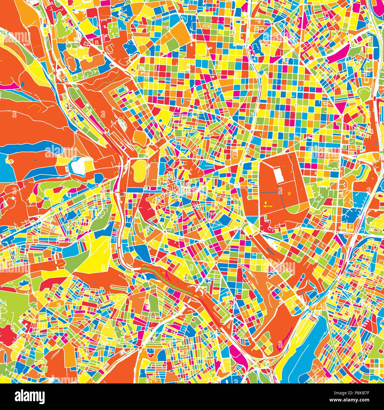 Madrid, Spain, colorful vector map.  White streets, railways and water. Bright colored landmark shapes. Art print pattern. - Stock Vector