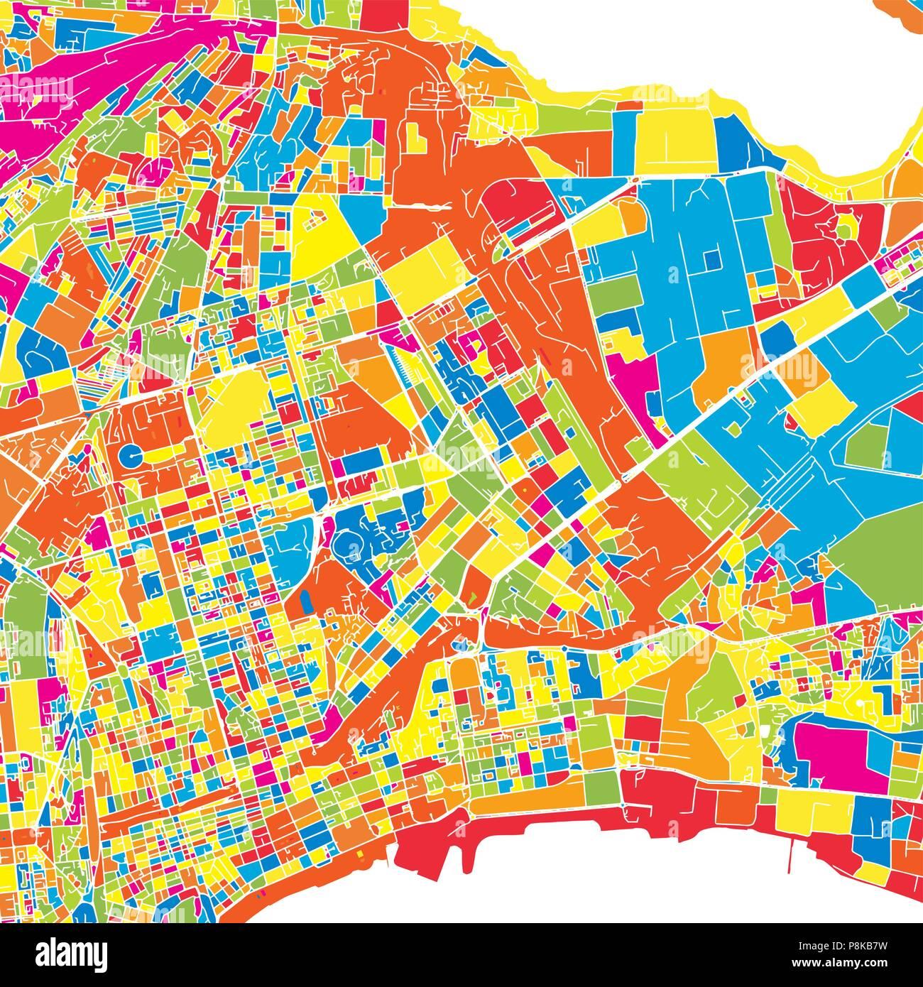 Baku, Azerbaijan, colorful vector map.  White streets, railways and water. Bright colored landmark shapes. Art print pattern. - Stock Vector