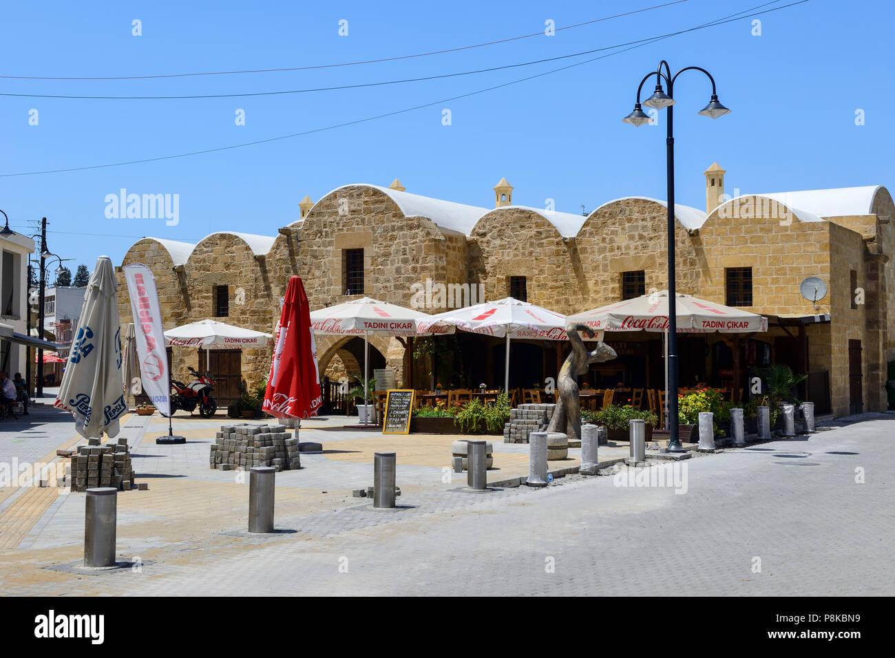 Recently restored Kumarcilar Han (Gambler's Inn), a former caravanserai, in North Nicosia (Lefkosa), Turkish Republic of Northern Cyprus - Stock Image
