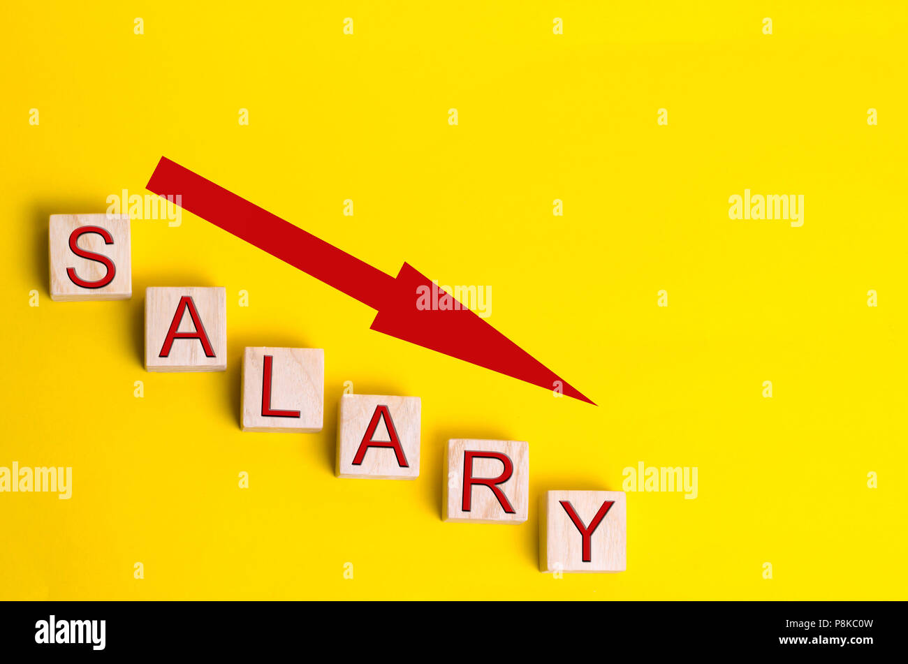 lower salary, wage rates. demotion, career decline. lowering the standard of living. wage cuts - Stock Image