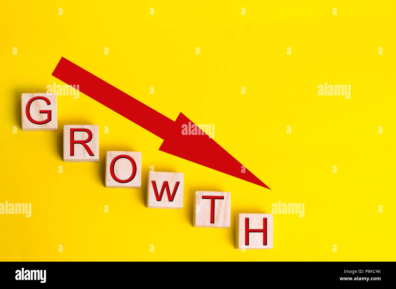 unprofitable business. decrease in growth, of sales and profit, bankruptcy business concept, financial crisis in company - Stock Image