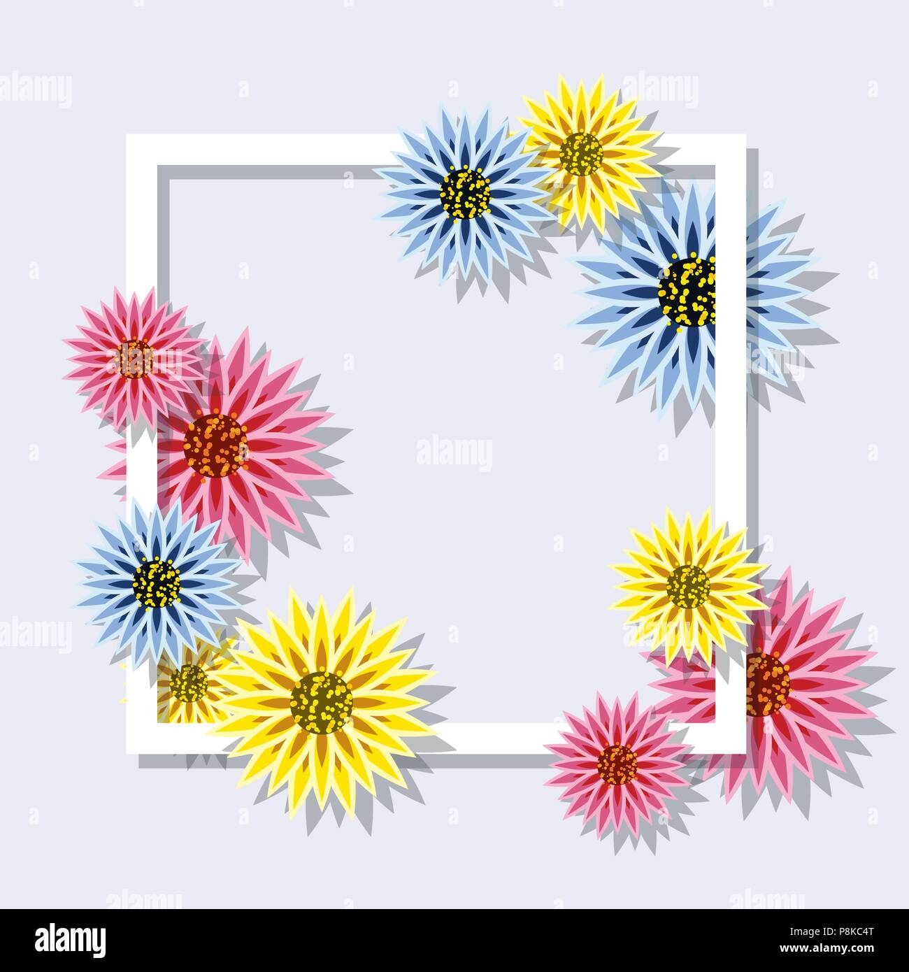 Vector Colorful Spring Flowers With Square Framefloral Flower