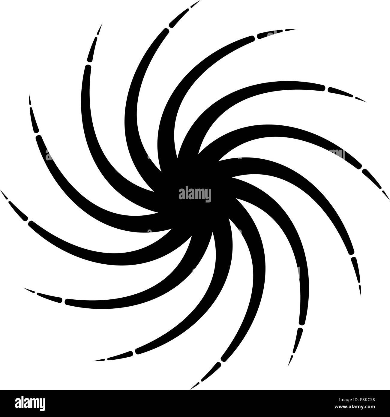 Vector Radial Spiral Black And White Background Illustration