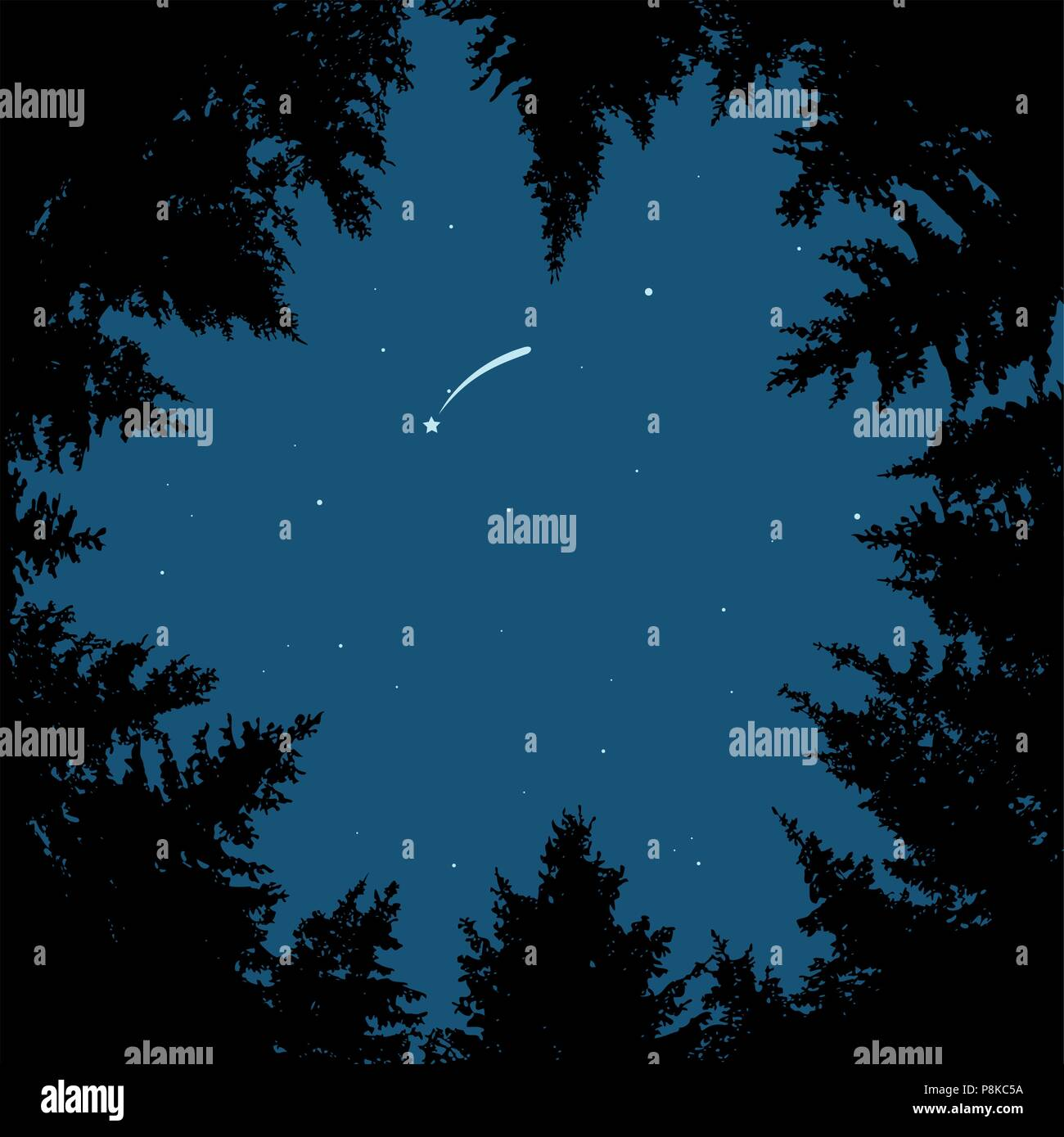 vector background of blue night sky with stars, comet or falling star and dark forest trees. circle of black pine trees forming copyspace Stock Vector