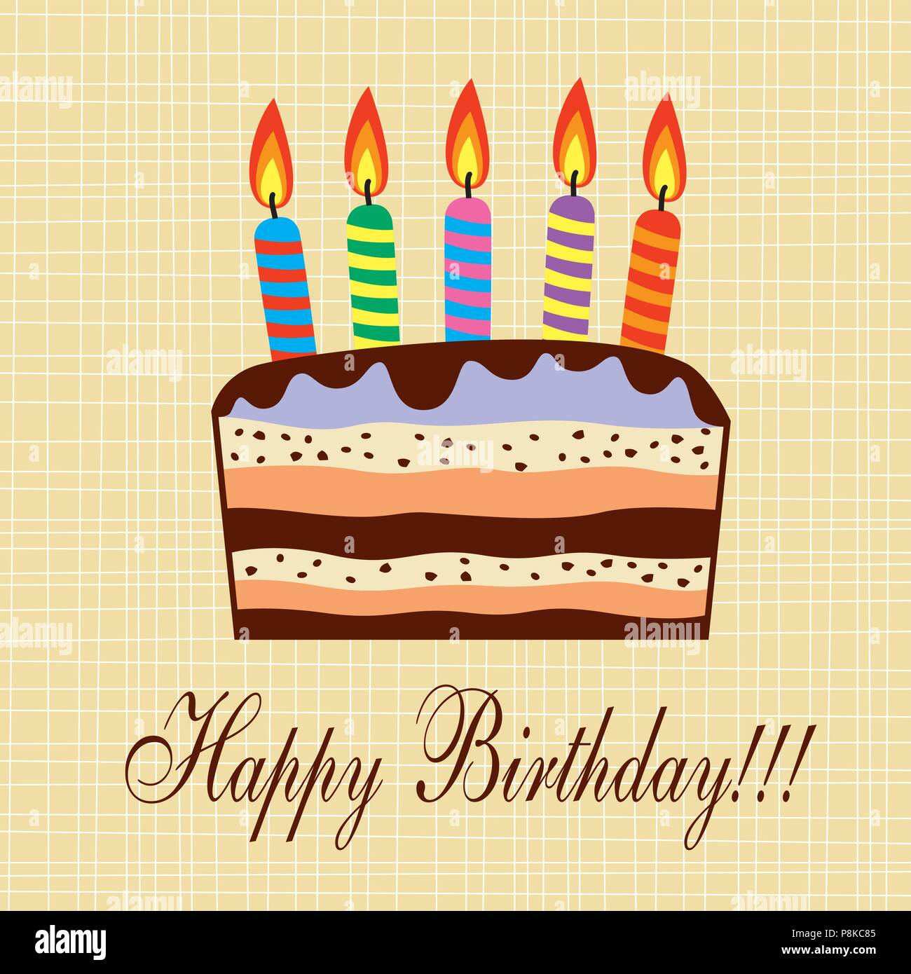 Vector Birthday Cake With Candles Stock Vector Art Illustration