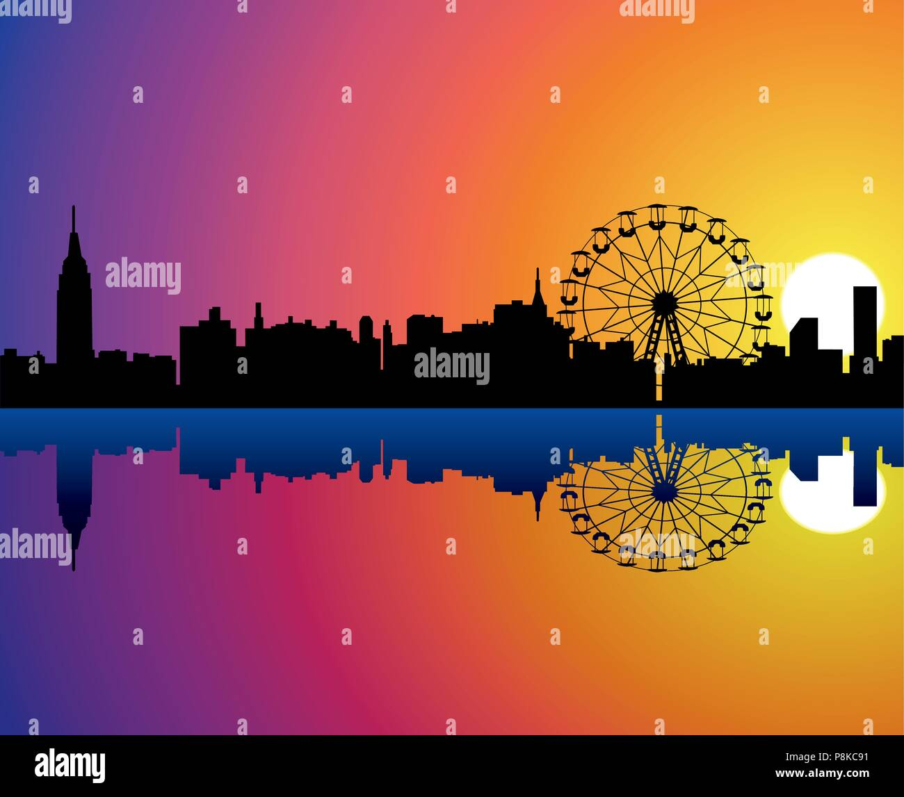 vector city background with reflection in water - Stock Vector