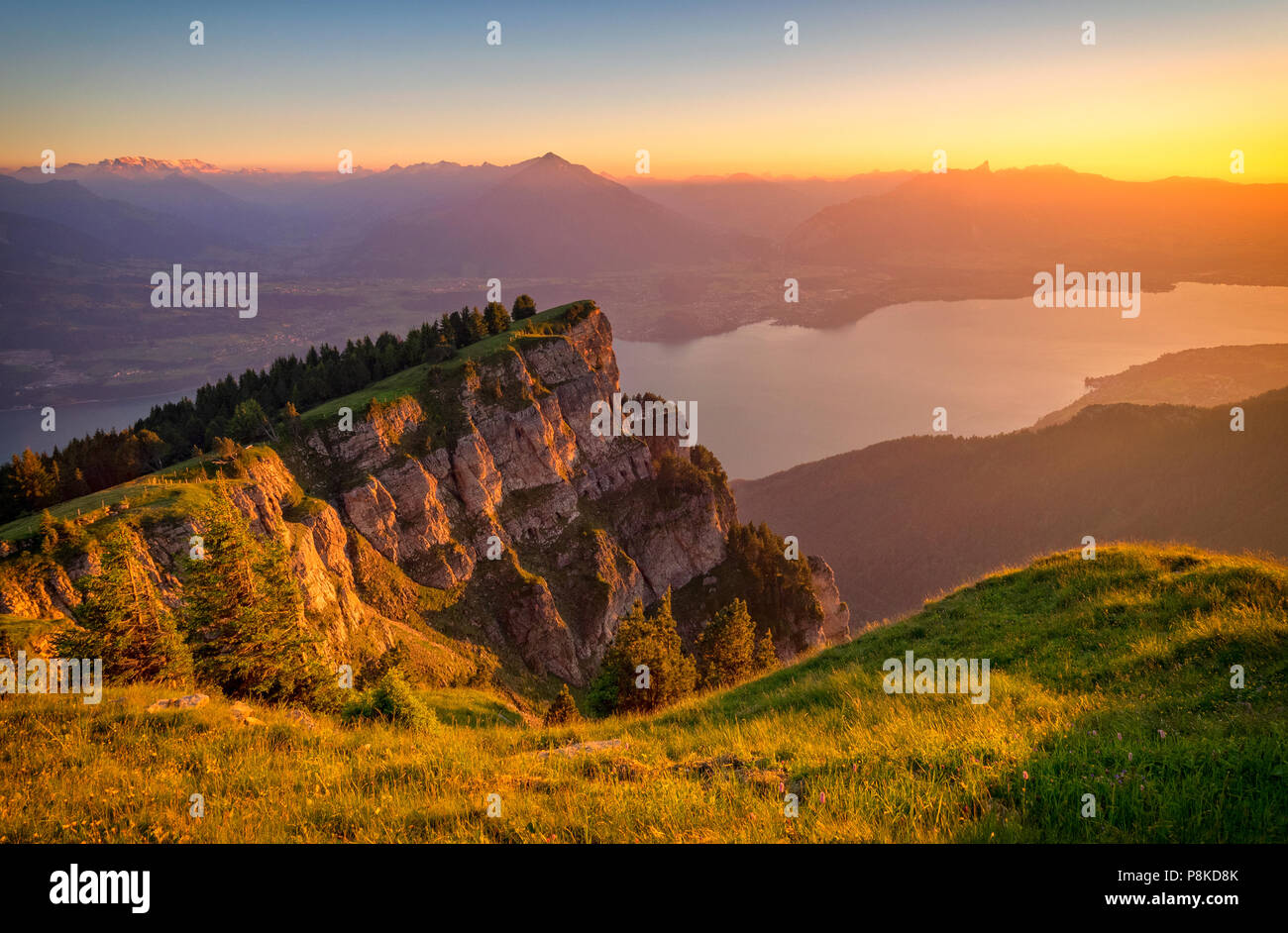 Evening at Niederhorn - Stock Image