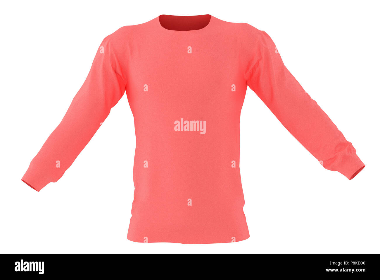 891f842ce Long sleeve red t-shirt. Isolated on white background. Include clipping  path. 3d render