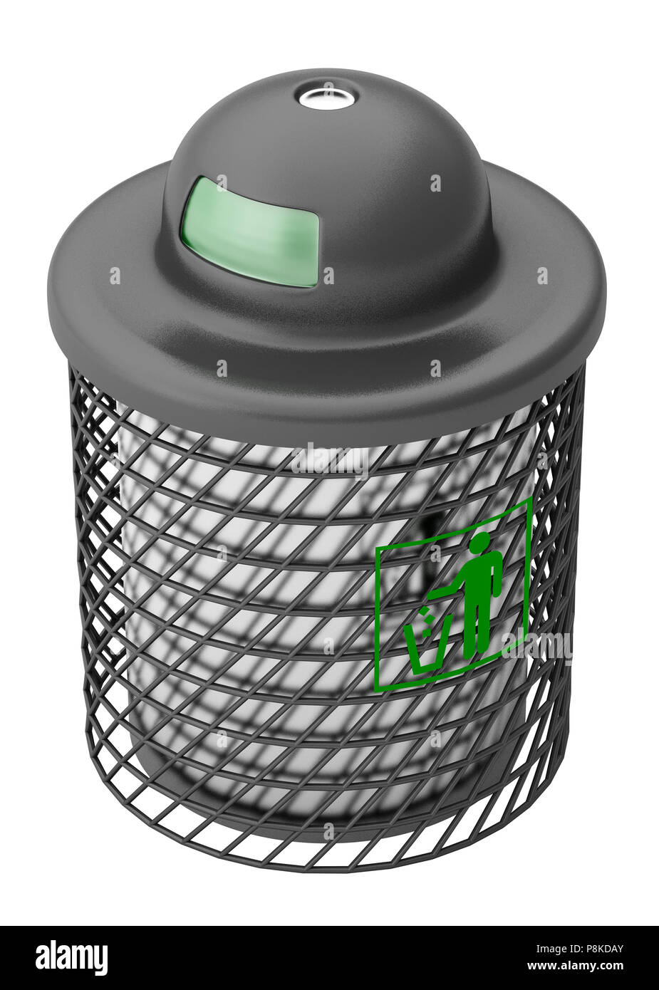 Trash can isolated on white background. Include clipping path. 3d render - Stock Image