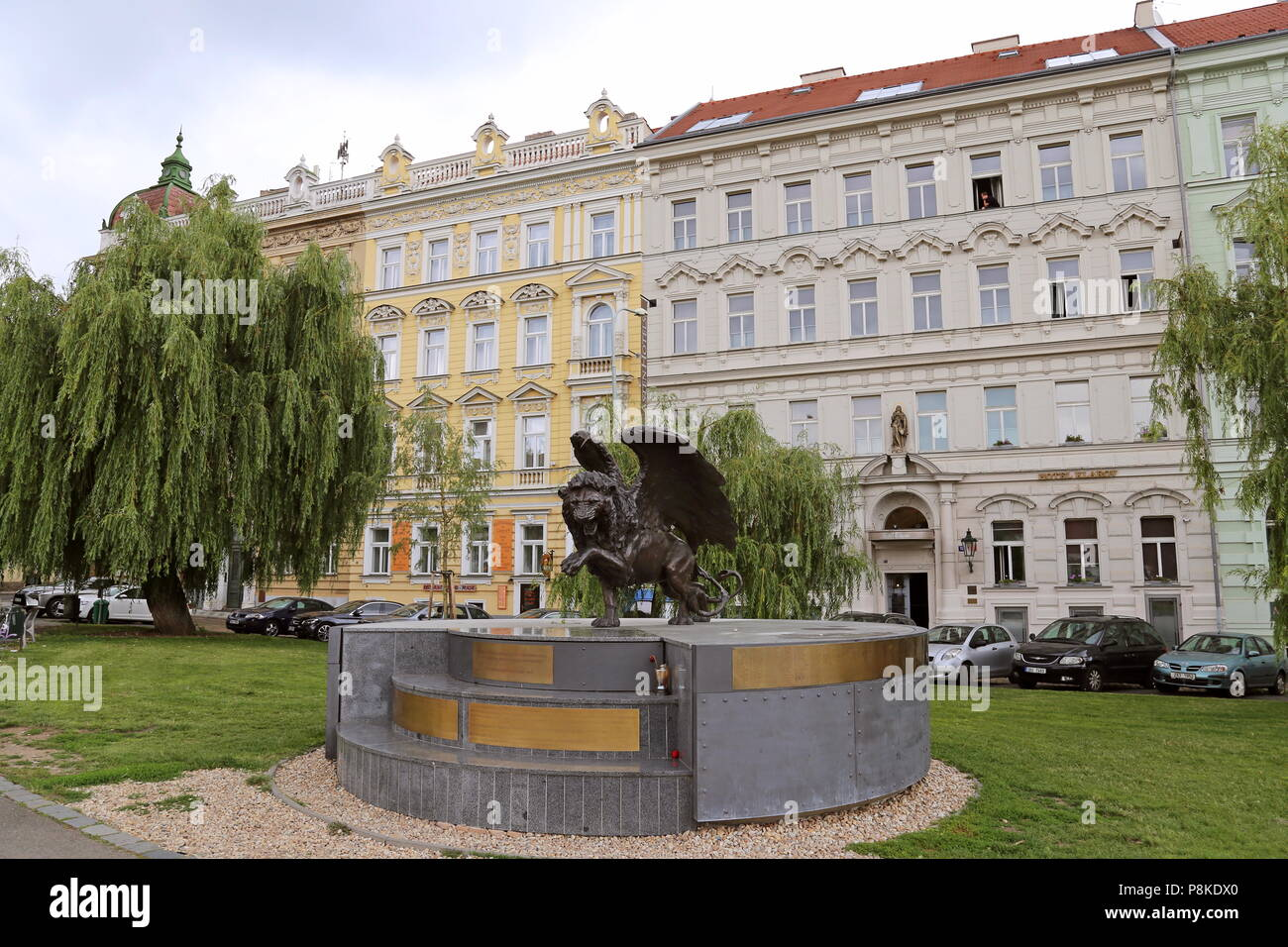 Memorial to Czech and Slovak pilots who flew with the RAF during WW2. Klárov, Malá Strana (Little Quarter), Prague, Czechia (Czech Republic), Europe - Stock Image