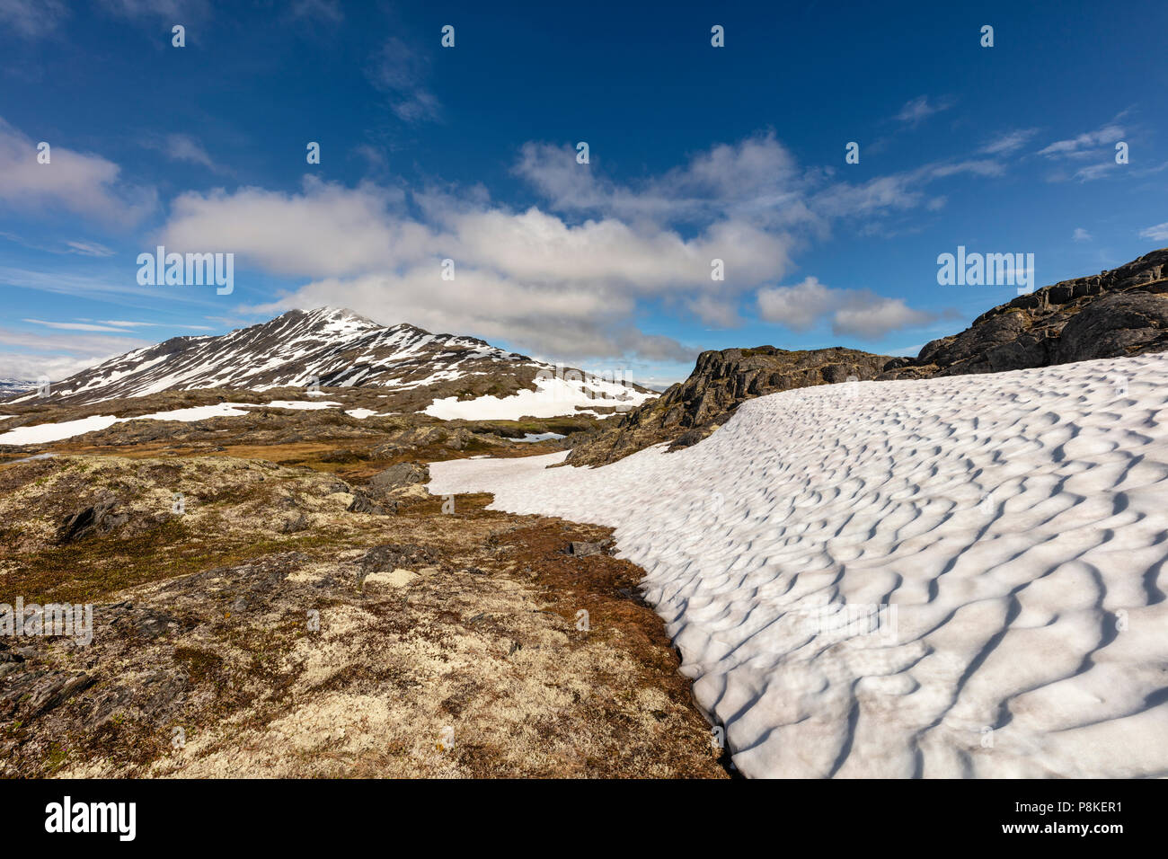 Remnant snowfield at Thompson Pass near Valdez in Southcentral Alaska. - Stock Image