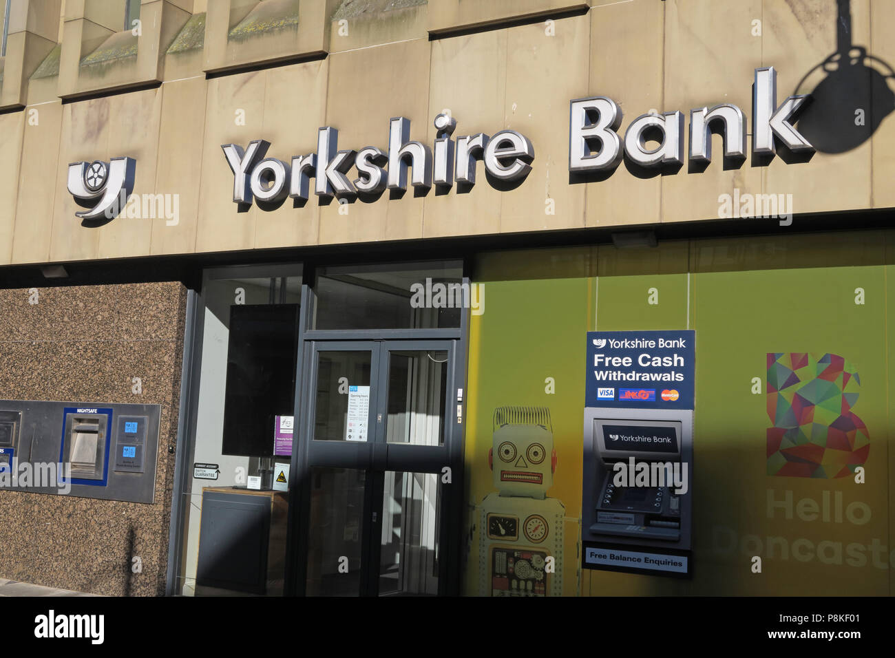 Yorkshire Bank, St Sepulchre Gate, Frenchgate Shopping Centre, Doncaster, Yorkshire, England, UK, DN1 1SJ - Stock Image