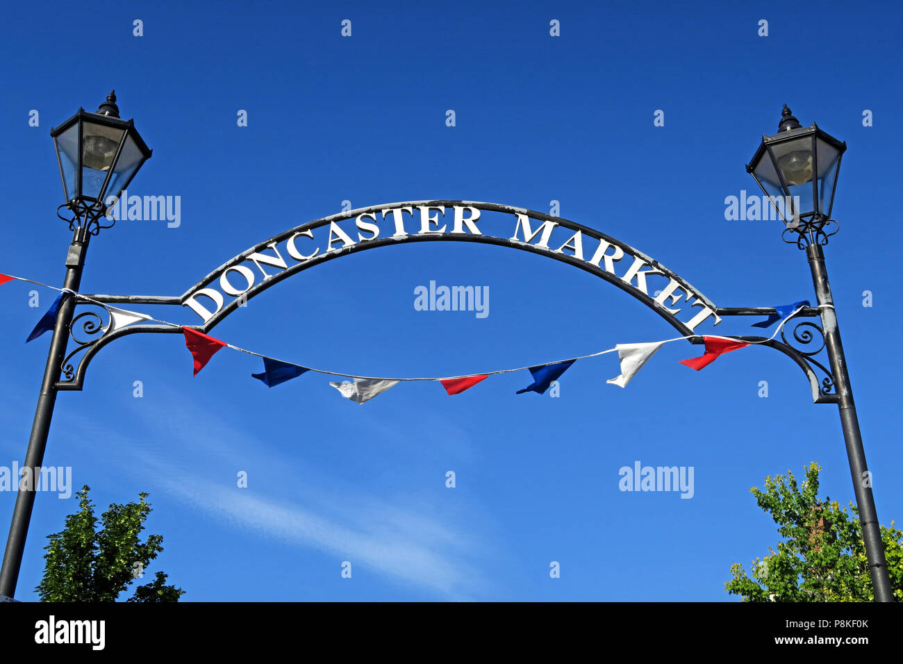 Doncaster Market Sign, Marketplace, South Yorkshire, England, UK - Stock Image