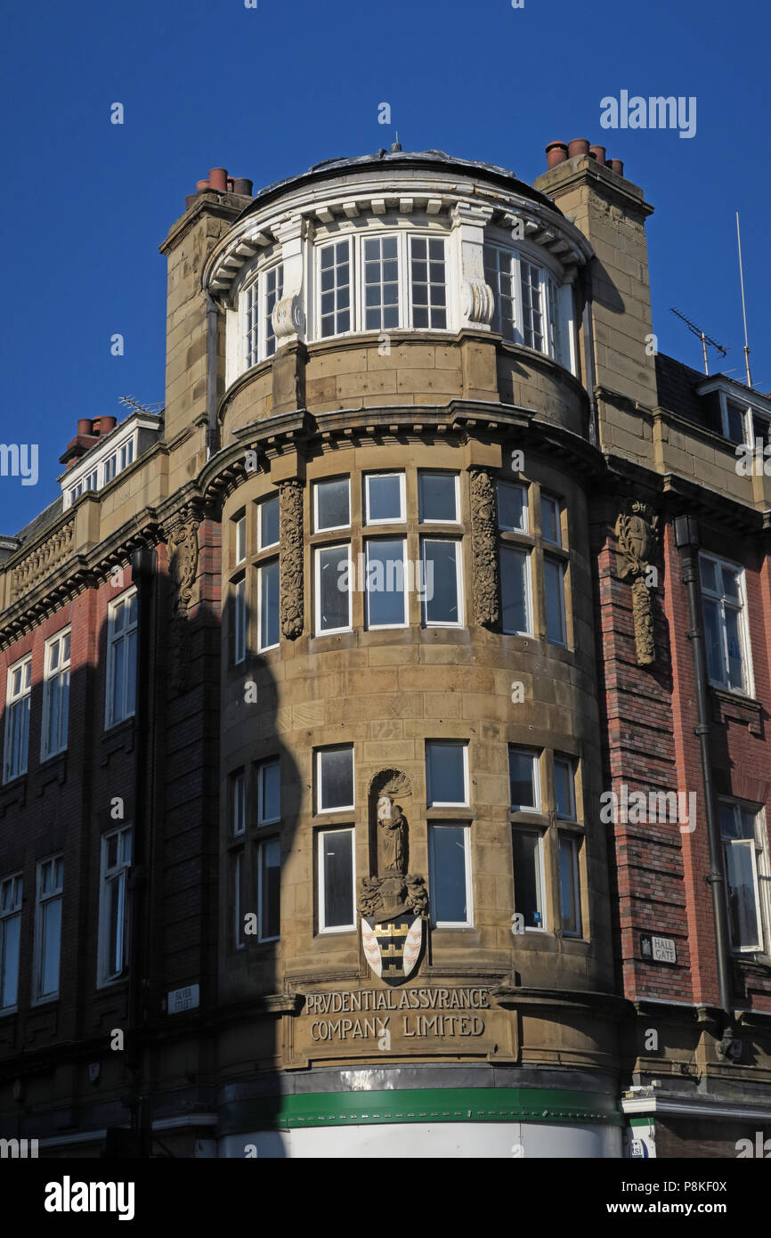 Prudential Assurance building on Hall Gate, Doncaster Town Centre, South Yorkshire, England, DN1 3NL - Stock Image