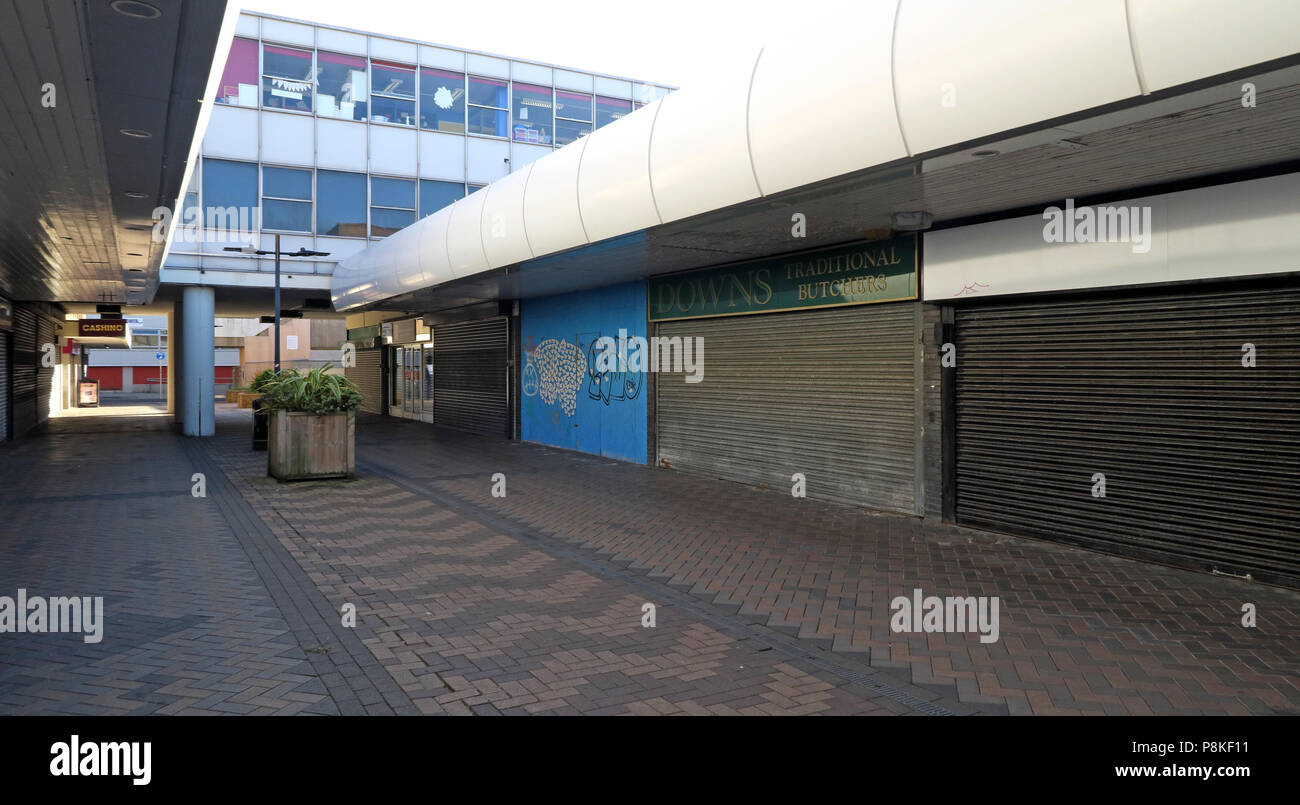 Doncaster Town centre empty retail units, Doncaster, South Yorkshire, England, UK - Stock Image