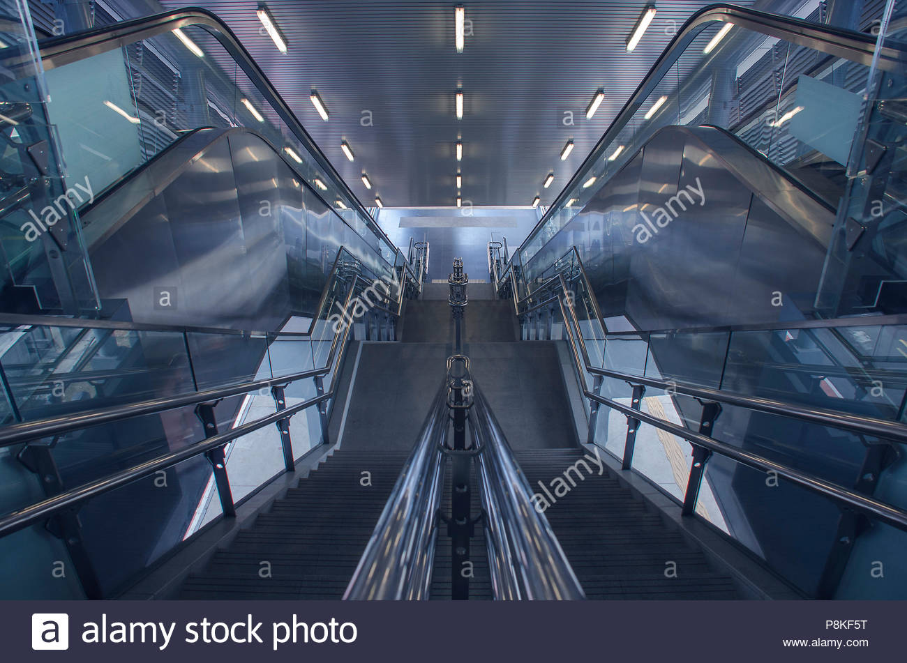 Stairway in mass rail transit station in Kuala Lumpur (Editorial Use Only) - Stock Image