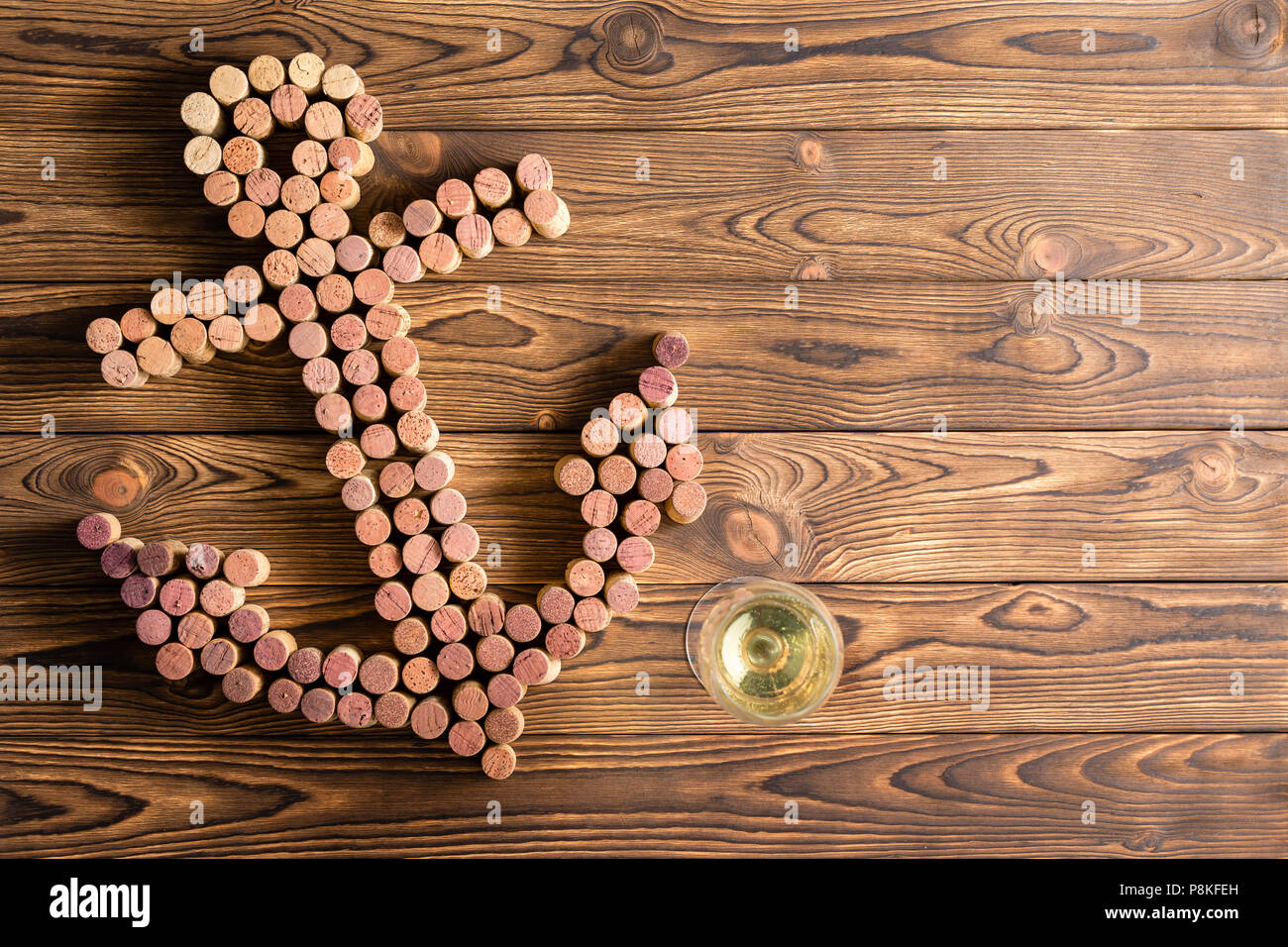 Creative Boat Anchor Design Formed Of Used Wine Corks On A
