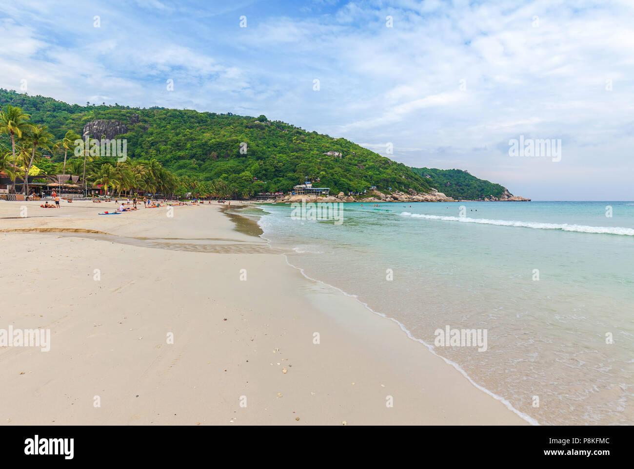 Haad Rin beach. Venue of the famous Full Moon Party. Koh Phangan. Thailand. - Stock Image