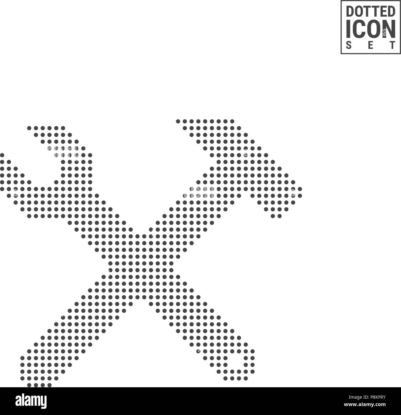 Hammer and Wrench Dot Pattern Icon. Hammer and Wrench Dotted Icon Isolated on White. Vector Icon of Construction Stock Vector