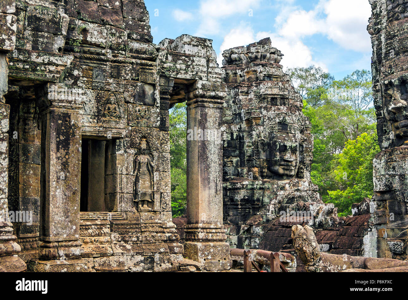 The famous Khmer temple of Angkor Tom in Cambodia. - Stock Image