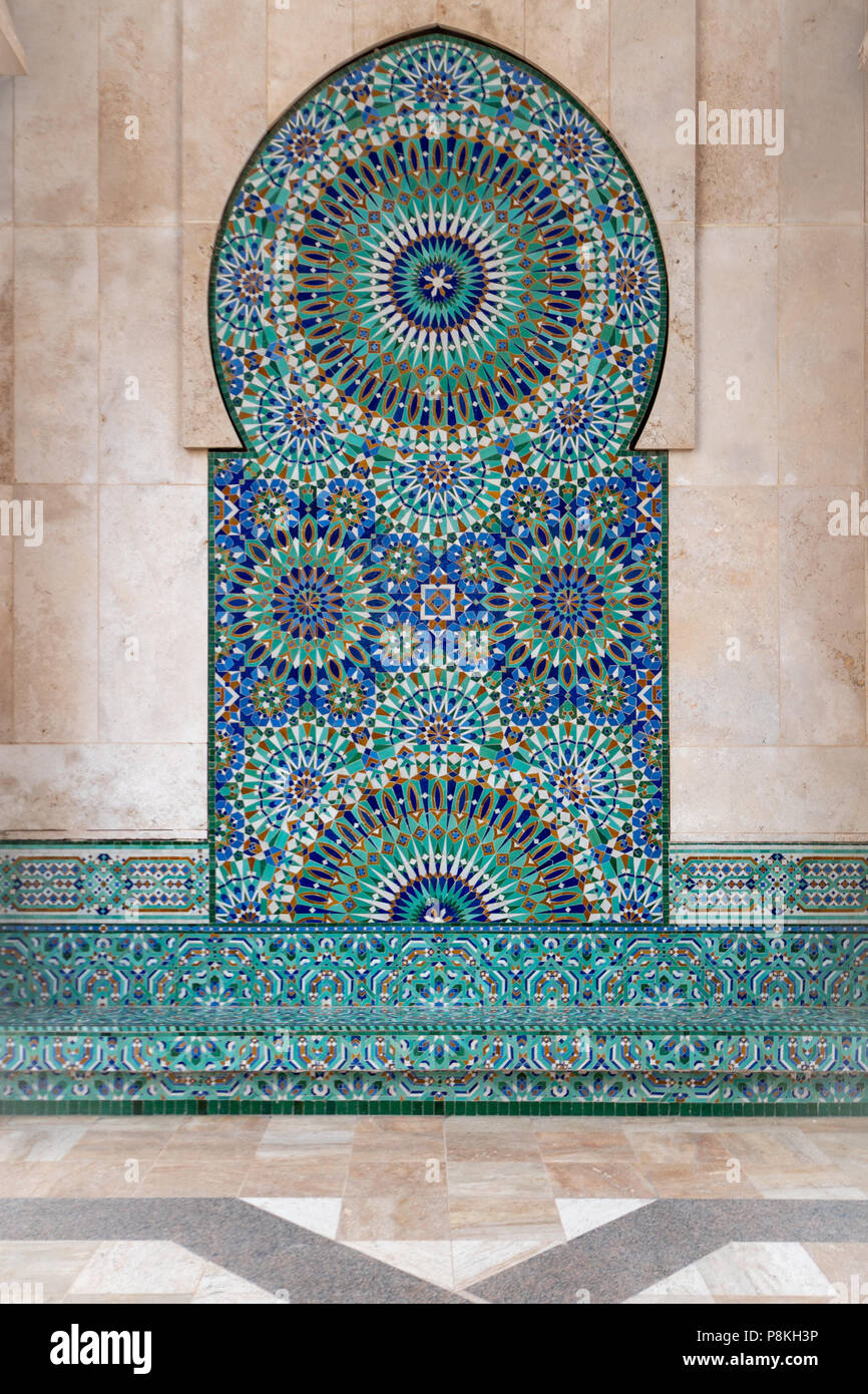 Intricate geometric symmetrical tiled pattern on the exterior wall ...