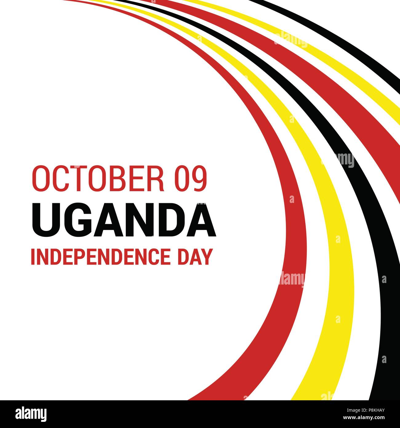 size 40 7176a 068e4 Vector 9th October Uganda Independence Day. Black red and yellow Uganda  flag lines with typography Celebration Card. Illustration. For web design  and