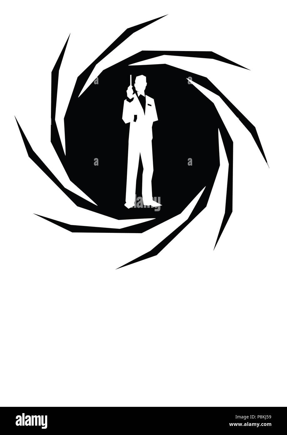 James Bond Character White Background Nice Illustration