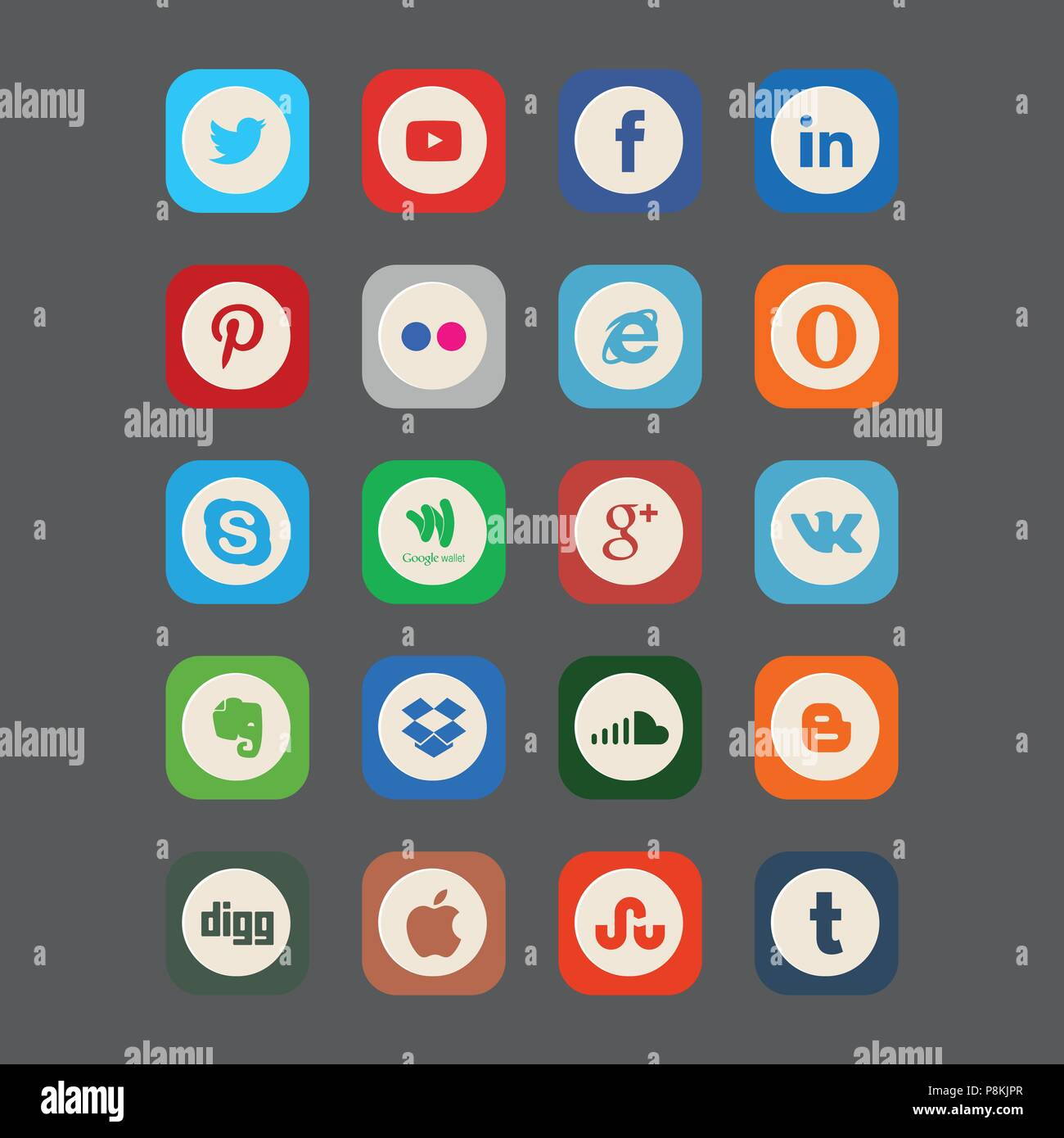 9df938f3c8bd Set of most popular social media icons: Pinterest, Twitter, YouTube,  WhatsApp, Snapchat, Facebook,Skype, Instagram, Android, Flickr, and others  logos