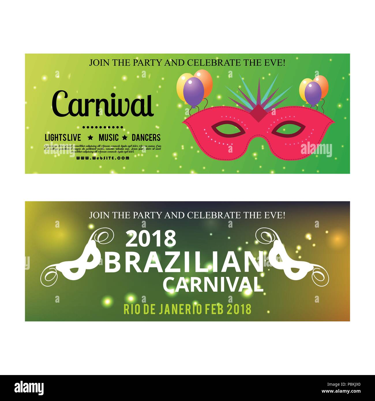 happy brazilian carnival day green color carnival banners with typographies sample text and masks for web design and application interface also us
