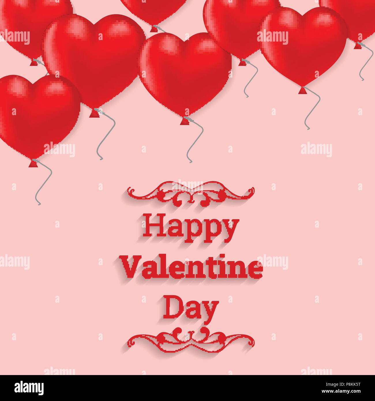 Happy Valentine S Day Card With Hearts Balloons For Web Design And