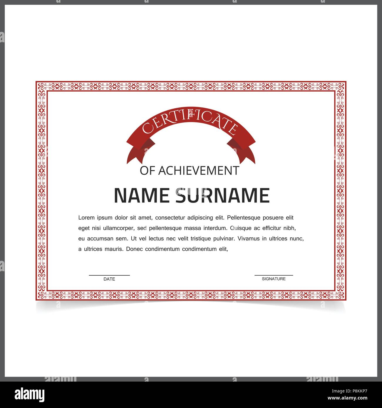 Vector Certificate Template With Red Designe Borders On White Card