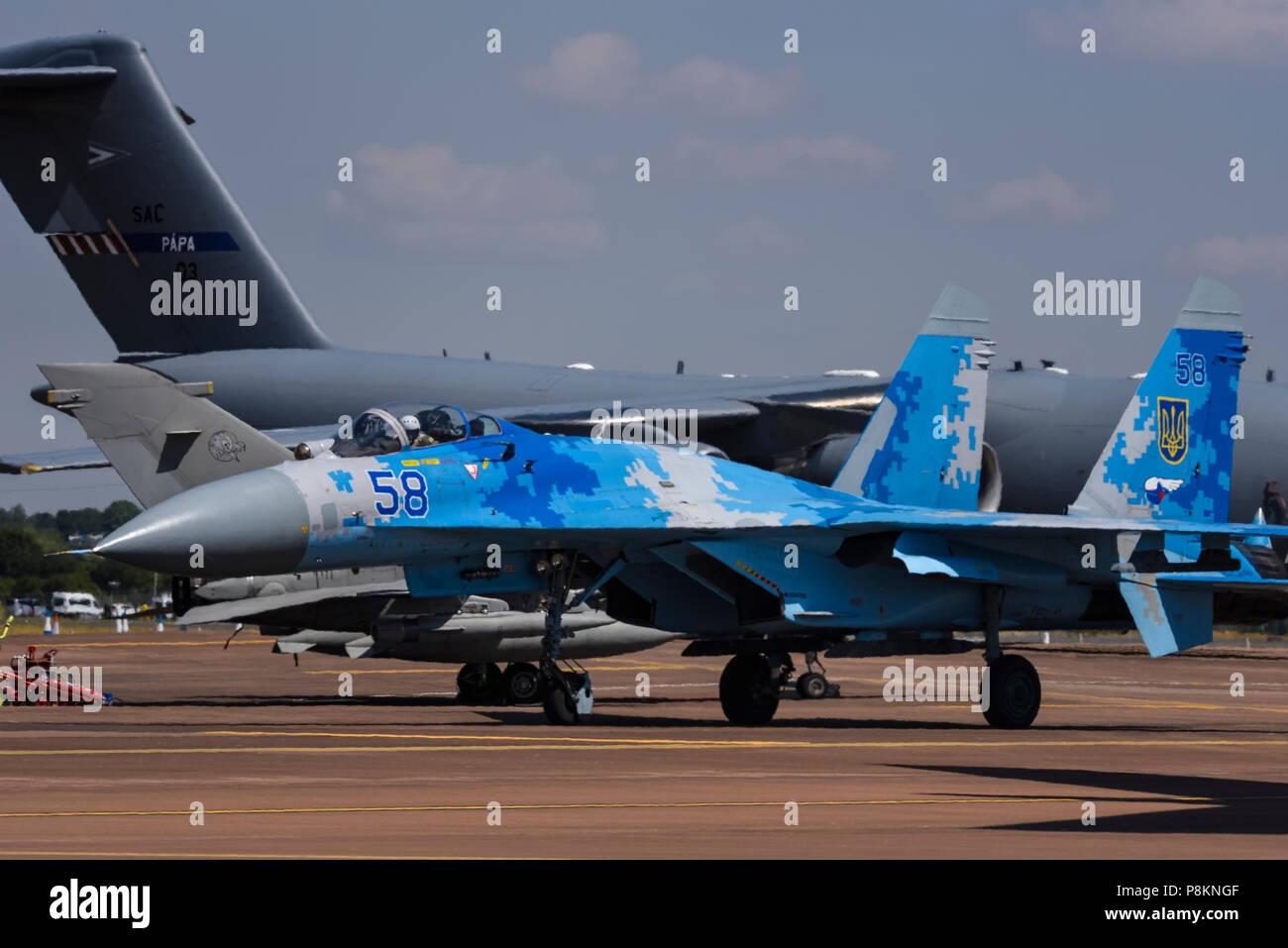 Ukrainian Air Force Sukhoi Su-27 Flanker fighter jet plane - Russian built -  at Royal International Air Tattoo, RIAT 2018, RAF Fairford. - Stock Image