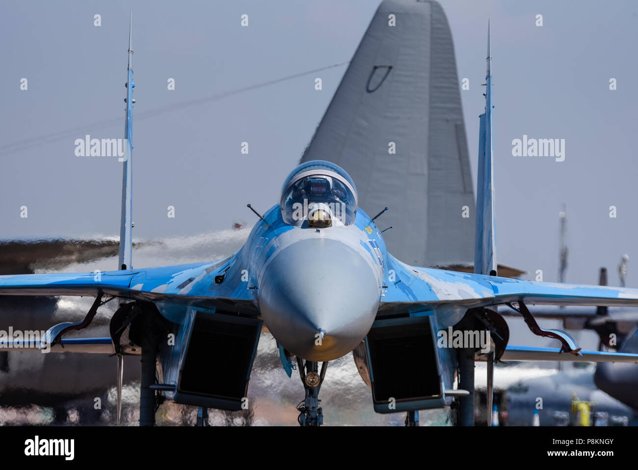 Ukrainian Air Force Sukhoi Su-27 Flanker fighter jet plane - Russian built -  at Royal International Air Tattoo, RIAT 2018, RAF Fairford. - Stock Image