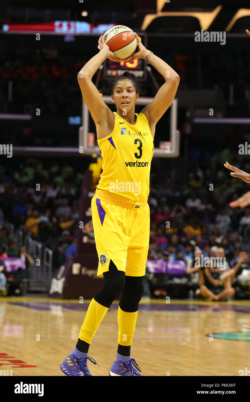LOS ANGELES, CA - JULY 12: Los Angeles Sparks forward Candace Parker (3) looks to pass the ball during a WNBA game between the Dallas Wings and the Los Angeles Sparks on July 12, 2018 at Staples Center in Los Angeles, CA. (Photo by Jordon Kelly Cal Sport Media) Stock Photo