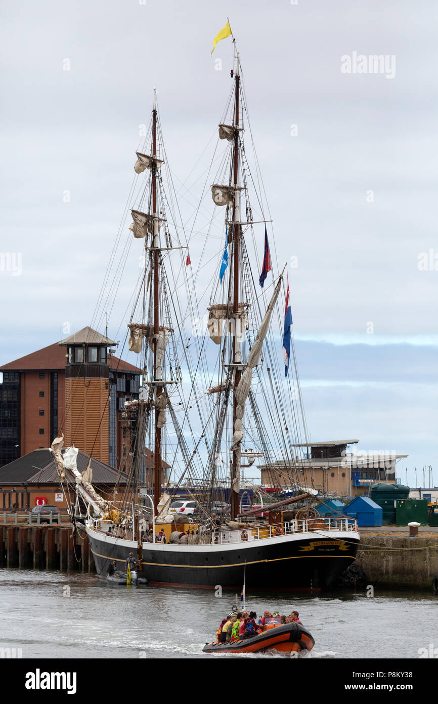 Sunderland, UK. 12th July, 2018. Ship docked on the River Wear during the Tall Ships Race at Sunderland in north-east England. The tall ships will be in Sunderland from 11 to 14 July before departing on the first leg of the 2018 Tall Ships Race, to Ebsjerg in Denmark. Credit: Stuart Forster/Alamy Live News - Stock Image