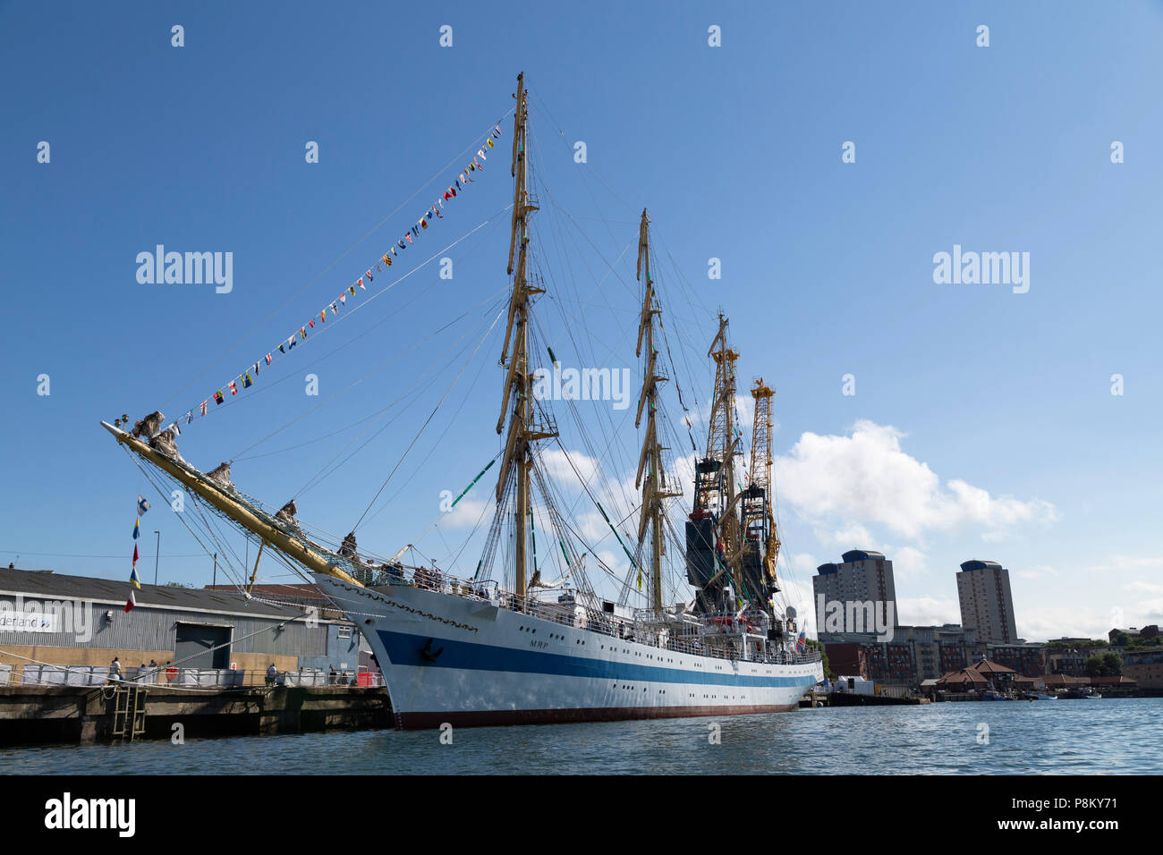Sunderland, UK. 12th July, 2018. Mir, a Russian ship, the largest participating in the Tall Ships Race at Sunderland in north-east England. The tall ships will be in Sunderland from 11 to 14 July before departing on the first leg of the 2018 Tall Ships Race, to Ebsjerg in Denmark. Credit: Stuart Forster/Alamy Live News - Stock Image
