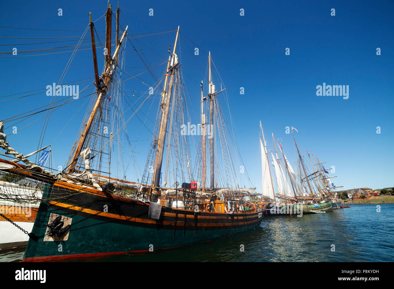 Sunderland, UK. 12th July, 2018. The Tall Ships Race at Sunderland in north-east England. The tall ships will be in Sunderland from 11 to 14 July before departing on the first leg of the 2018 Tall Ships Race, to Ebsjerg in Denmark. Credit: Stuart Forster/Alamy Live News - Stock Image