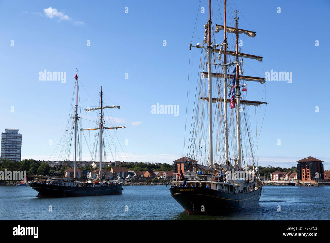 Sunderland, UK. 12th July, 2018. People take a cruise on a tall ship during the Tall Ships Race at Sunderland in north-east England. The tall ships will be in Sunderland from 11 to 14 July before departing on the first leg of the 2018 Tall Ships Race, to Ebsjerg in Denmark. Credit: Stuart Forster/Alamy Live News - Stock Image