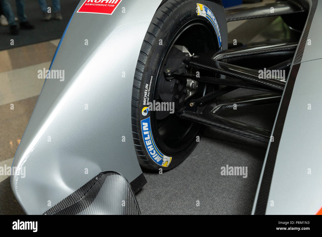 new york, ny - july 12, 2018: formula-e race car on display during