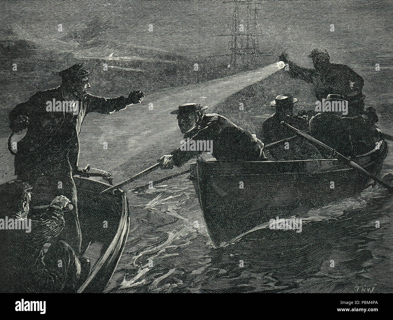 The arrest of sailors from the CSS Shenandoah, local men who had stowed away on the vessel to fight for the Confederate cause, caught trying to escape by the Williamstown water police, in Hobson's Bay, Melbourne harbour, Australia, 14-15 February 1865 - Stock Image