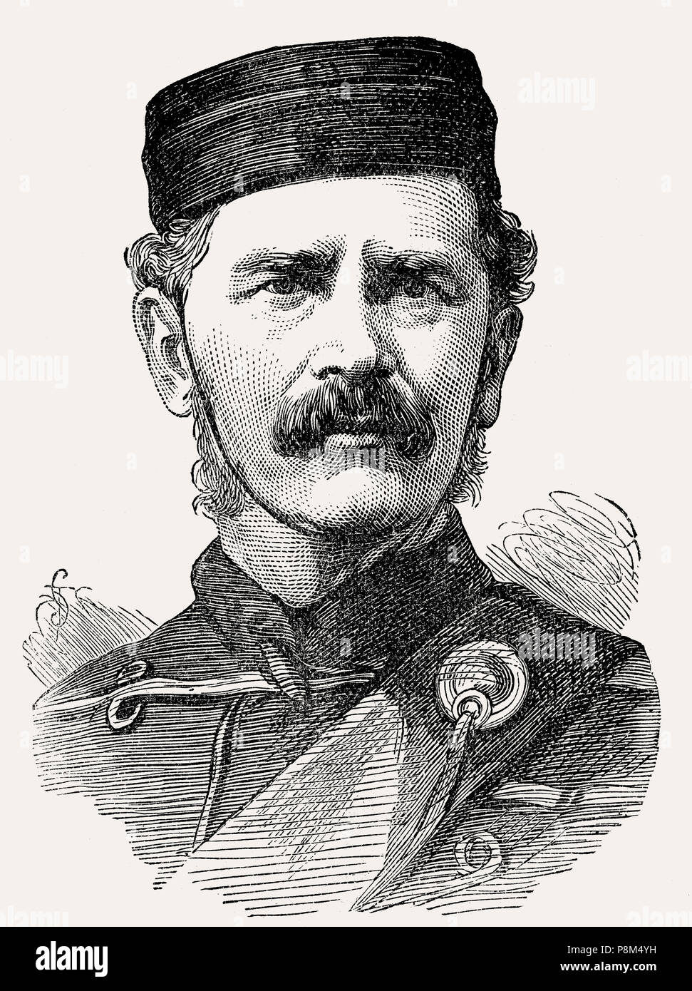 Lieutenant-General Sir Edward Newdigate, 1825 – 1902, a British Army officer, From British Battles on Land and Sea, by James Grant - Stock Image