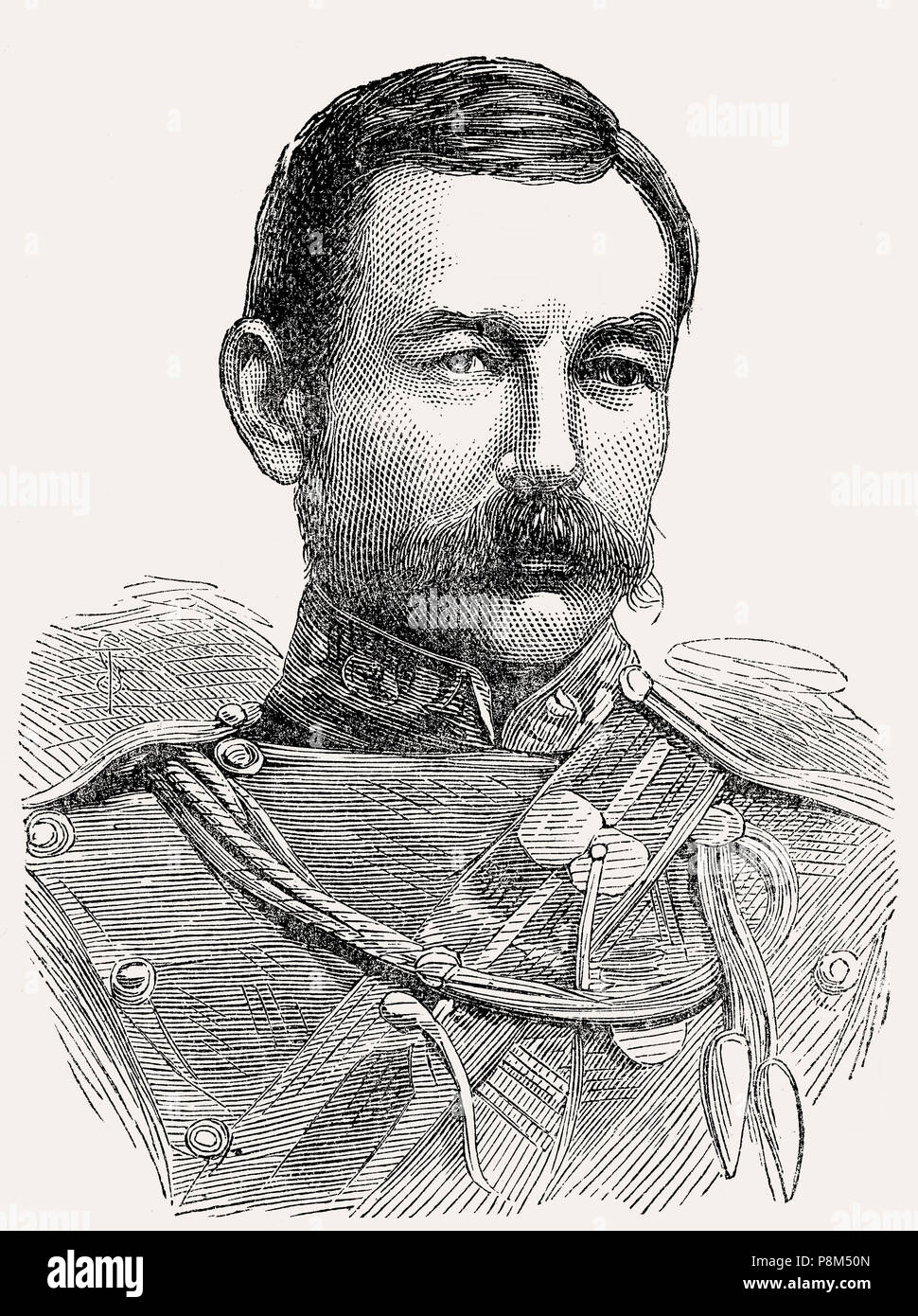 Lieutenant-General Sir Drury Curzon Drury-Lowe, 1830 – 1908, a British army officer, From British Battles on Land and Sea, by James Grant - Stock Image