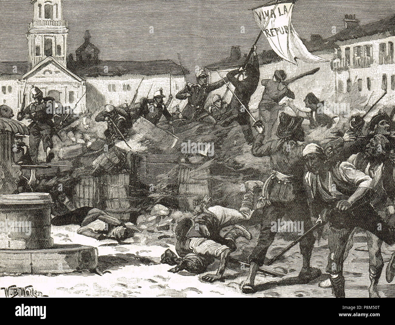 Street fighting in Malaga, Spain, 1869.  A epublican insurrection, during the Glorious Revolution, demanding a Spanish republic following the deposition of Queen Isabella II.  Brutally suppressed the by Provisional government who wished to retain a monarch. - Stock Image