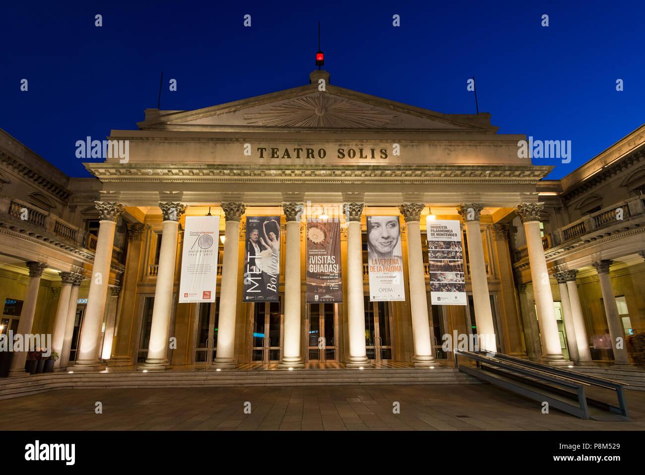 Teatro Solis, Theatre, at night, Montevideo, Uruguay - Stock Image
